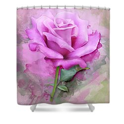 Watercolour Pastel Lilac Rose Shower Curtain