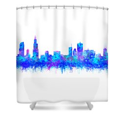 Shower Curtain featuring the painting Watercolour Splashes And Dripping Effect Chicago Skyline by Georgeta Blanaru