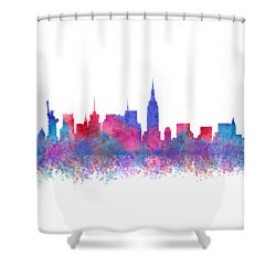 Shower Curtain featuring the digital art Watercolour Splashes New York City Skylines by Georgeta Blanaru