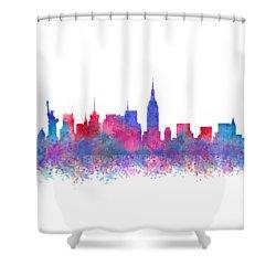 Shower Curtain featuring the digital art Watercolour Splashes New York City Skylines by Georgeta Blanaru