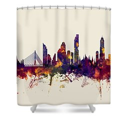 watercolour, watercolor, urban,  Bangkok, Bangkok skyline, bangkok cityscape, city skyline, thailand Shower Curtain