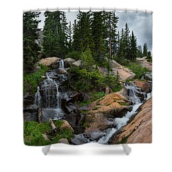 Waterfall Above Upper Slate Lake Shower Curtain
