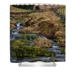 Shower Curtain featuring the photograph Waterfall At Glendevon In Scotland by Jeremy Lavender Photography