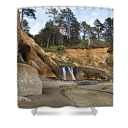 Waterfall At Hug Point State Park Oregon Shower Curtain