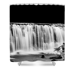 Waterfall At Night Shower Curtain