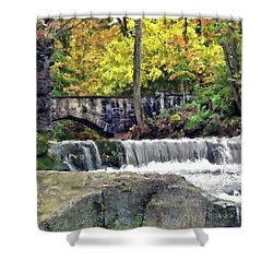 Waterfall At Olmsted Falls - 1 Shower Curtain