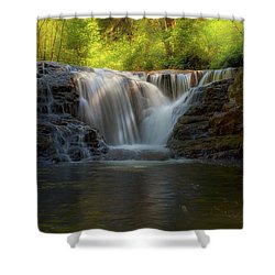Waterfall At Sweet Creek Hiking Trail Complex Shower Curtain by David Gn