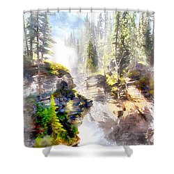 Shower Curtain featuring the painting Waterfall by Elizabeth Coats