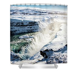 Shower Curtain featuring the photograph Waterfall Gullfoss Iceland In Winter by Matthias Hauser