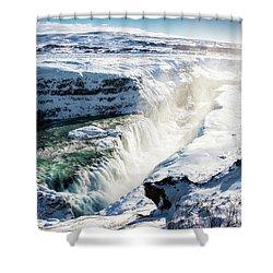 Waterfall Gullfoss Iceland In Winter Shower Curtain by Matthias Hauser