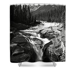 Shower Curtain featuring the photograph Waterfall In Banff National Park Bw by RicardMN Photography