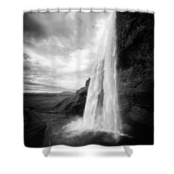 Shower Curtain featuring the photograph Waterfall In Iceland Black And White by Matthias Hauser
