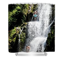 Waterfall In New Zealand Shower Curtain