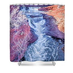 waterfalls at Colorado foothills aerial view Shower Curtain