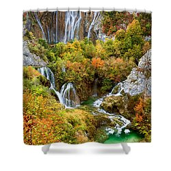 Waterfalls In Plitvice Lakes National Park Shower Curtain
