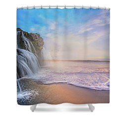 Waterfalls Into The Ocean Shower Curtain