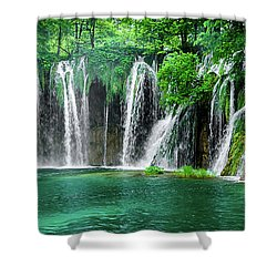 Waterfalls Panorama - Plitvice Lakes National Park Croatia Shower Curtain