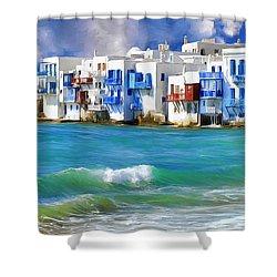 Waterfront At Mykonos Shower Curtain