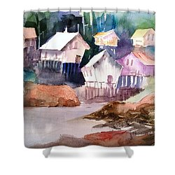 Waterfront Cabins Shower Curtain by Larry Hamilton