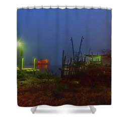 Waterfront Mystery Shower Curtain by Laura Ragland