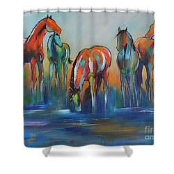 Shower Curtain featuring the painting Watering Hole 5 by Cher Devereaux