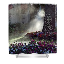 Watering The Lawn Shower Curtain by Keith Boone