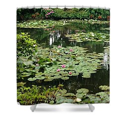 Shower Curtain featuring the photograph Waterlilies At Monet's Gardens Giverny by Therese Alcorn