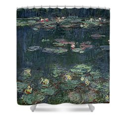 Waterlilies Green Reflections Shower Curtain by Claude Monet