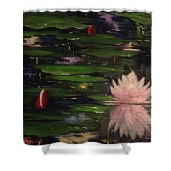 Shower Curtain featuring the painting Waterlilies - Original Sold by Therese Alcorn