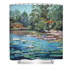 Waterlilies Pond In Tower Grove Park Shower Curtain