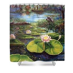 Waterlilies Shower Curtain by Renate Nadi Wesley