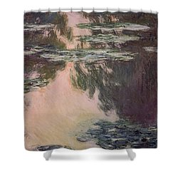 Waterlilies With Weeping Willows Shower Curtain by Claude Monet