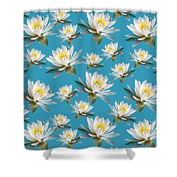 Shower Curtain featuring the mixed media Waterlily Pattern by Christina Rollo