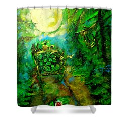 Shower Curtain featuring the painting Watermelon Wagon Moon by Seth Weaver