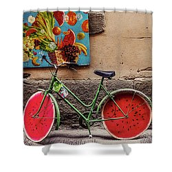 Watermelon Wheels Shower Curtain by Happy Home Artistry
