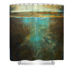Water's Edge In The Moonlight Shower Curtain by Linda Olsen