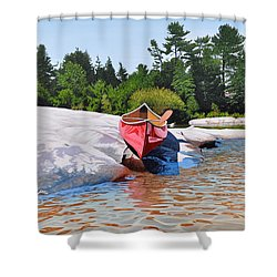Shower Curtain featuring the painting Waters Edge by Kenneth M Kirsch