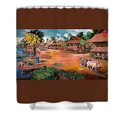 Waterside Town Community Shower Curtain
