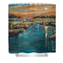 Shower Curtain featuring the painting Waterway Sunset by Linda Olsen