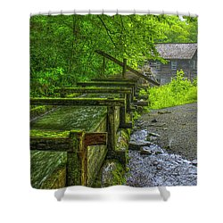 Shower Curtain featuring the photograph Waterworks Mingus Mill Mingus Creek Art  Great Smoky Mountains Art by Reid Callaway