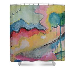 Shower Curtain featuring the digital art Watery Abstract by Susan Stone