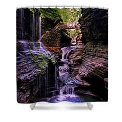 Watkins Glen State Park - Rainbow Falls 002 Shower Curtain