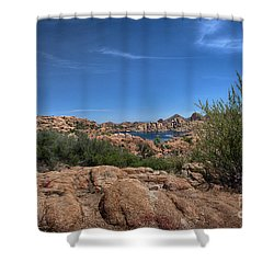 Watson Lake And The Granite Dells Shower Curtain by Anne Rodkin