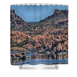 Watson Lake And The Granite Dells II Shower Curtain by Anne Rodkin