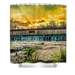 Shower Curtain featuring the photograph Watson Mill Covered Bridge by Michael Sussman