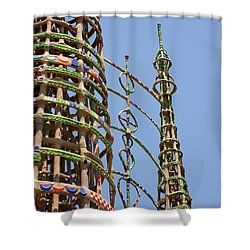 Shower Curtain featuring the photograph Watts Towers by Art Block Collections
