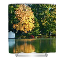 Waupaca Chain Boathouse Shower Curtain by Trey Foerster