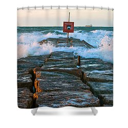 Wave Action Shower Curtain