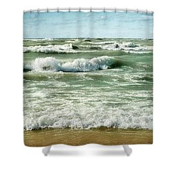 Wave Action Shower Curtain by Kathi Mirto
