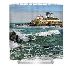 Shower Curtain featuring the photograph Wave Break And The Lighthouse by Greg Nyquist